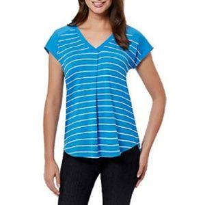 Adrienne Vittadini blue white stripe soft top